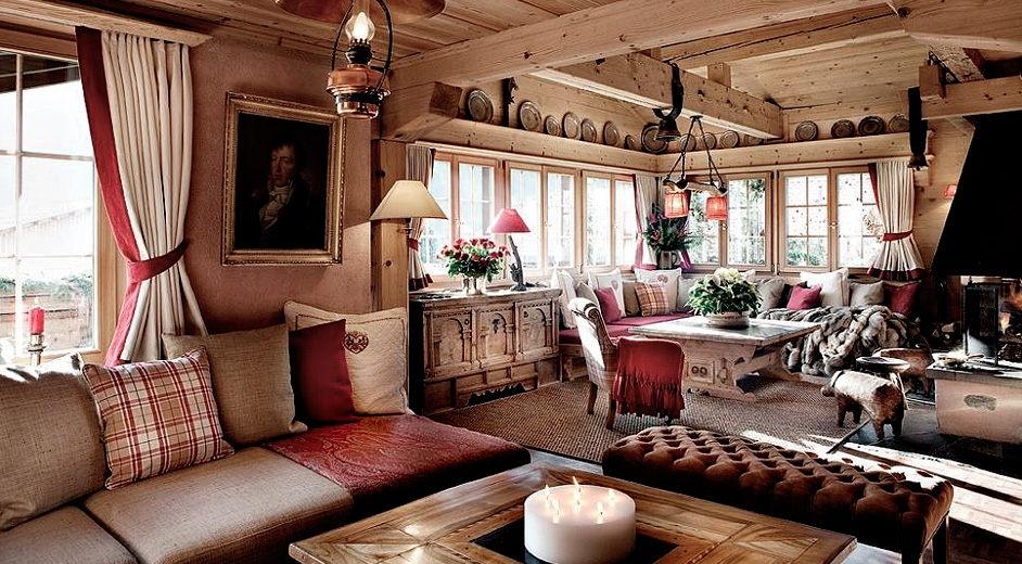 Интерьер деревянного дома шале