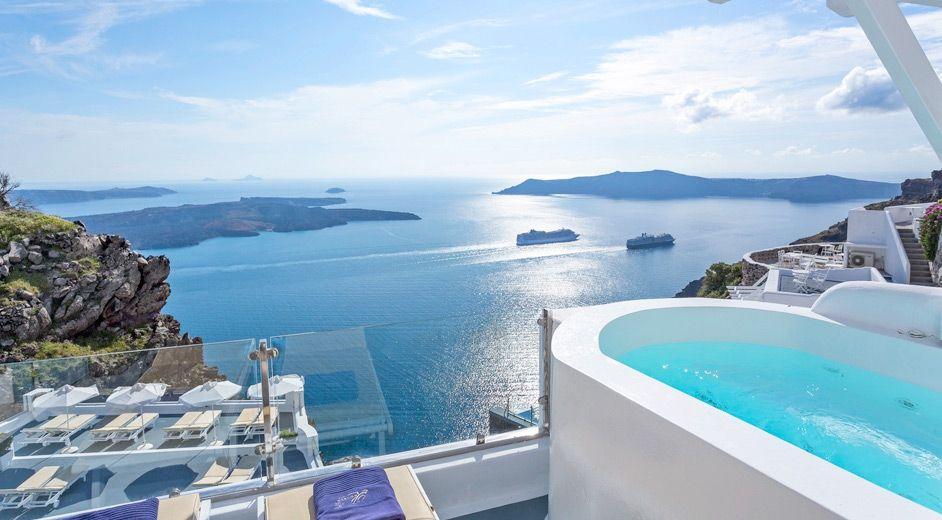Luxueux h tel santorini avec superbes vues sur la mer for Hotel santorin piscine privee